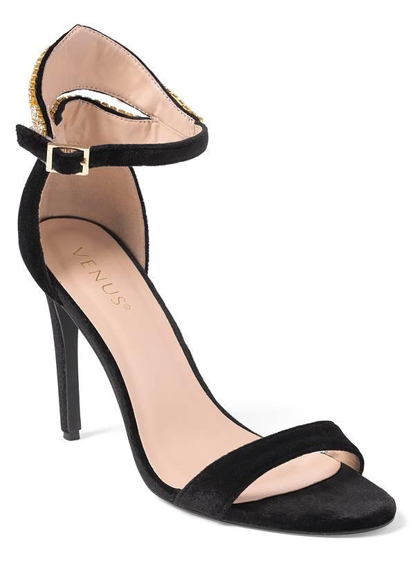 Velvet Embellished Heels,Lace Bell Sleeve Top,Velvet Pants,Pearl Hoop Earrings