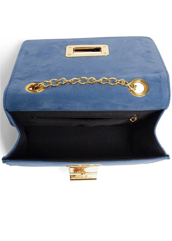 Flatshot open view Velvet Crossbody Bag