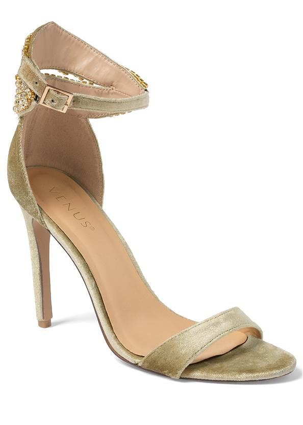 Velvet Embellished Heels,Tiered Lace Midi Dress,Pearl Hoop Earrings