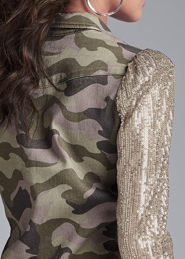 Alternate View Sequin Sleeve Camo Top