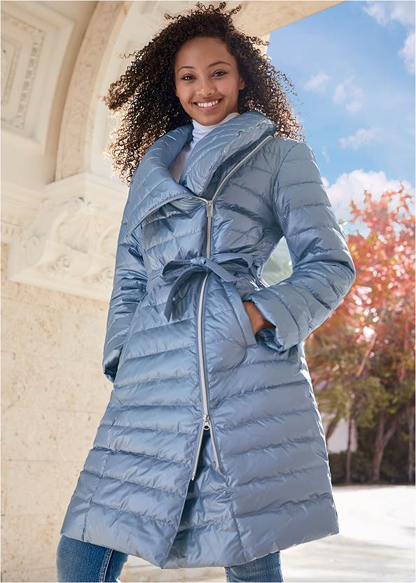 Metallic Puffer Coat,Basic Cami Two Pack,Casual Bootcut Jeans,Mock Neck Seamless Top,Rhinestone Stripe Beanie,Lucite Detail Heels,Velvet Crossbody Bag