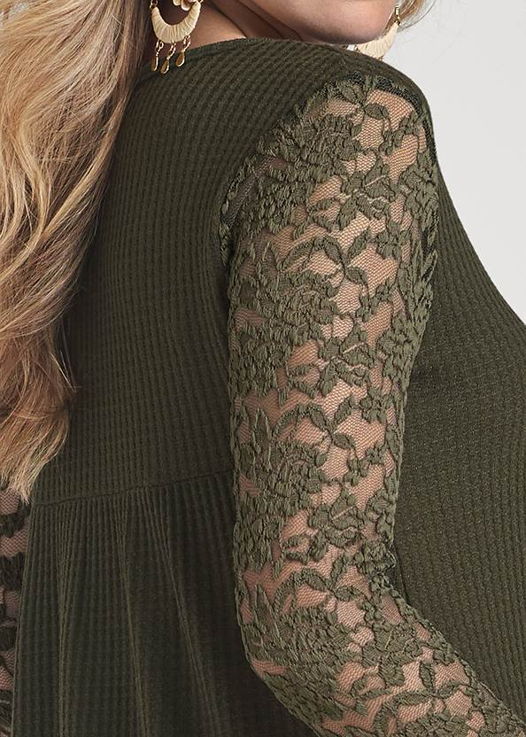 Alternate View Waffle Knit Lace Sleeve Top