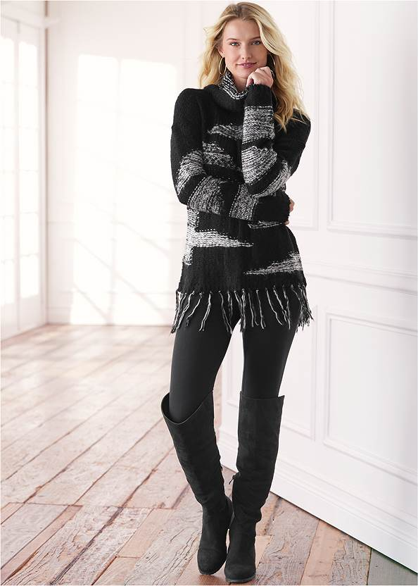 Contrast Fringe Sweater,Mid Rise Color Skinny Jeans