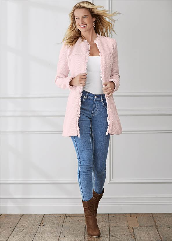 Open Front Tweed Fringe Jacket,Basic Cami Two Pack,Mid Rise Color Skinny Jeans,Ripped Skinny Jeans,Slouchy Pointed Toe Booties,Mixed Earring Set
