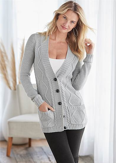 Button-Front Knit Cardigan