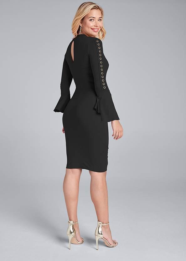 Back View Grommet Detail Surplice Dress