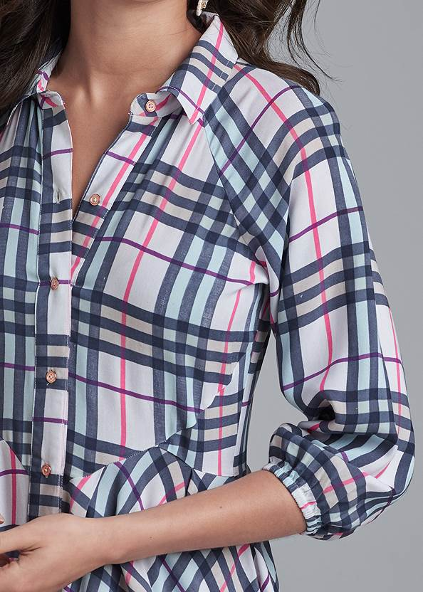 Alternate View Plaid Button-Down Dress