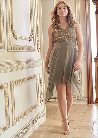Plus Size Sequin Detail Party Dress