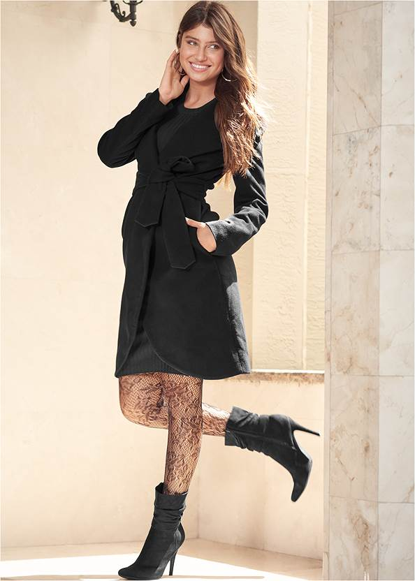 Hooded Wrap Coat,Button Detail Sweater Dress,Knotted Slouchy Boots,Twist Hoop Earrings