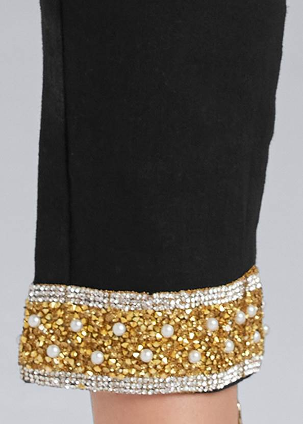 Detail side view Embellished Cropped Jeans