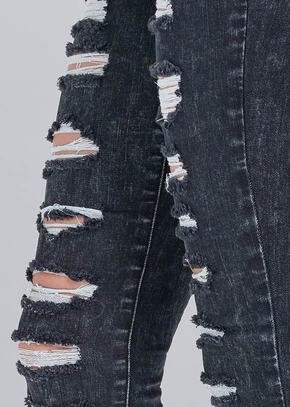 Detail side view Ripped Acid Wash Jeans