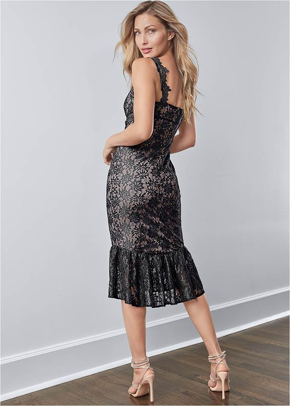 Full back view Lace Midi Bodycon Dress