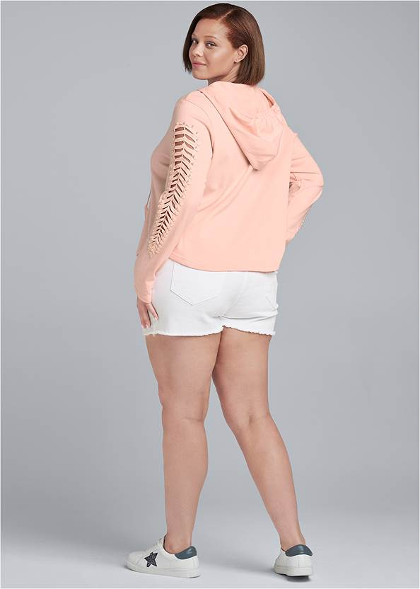 Alternate View Cut Out Sleeve Sweatshirt With Pearls