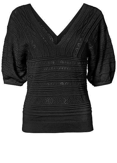 Plus Size 3/4 Sleeve Pointelle Stitch Sweater
