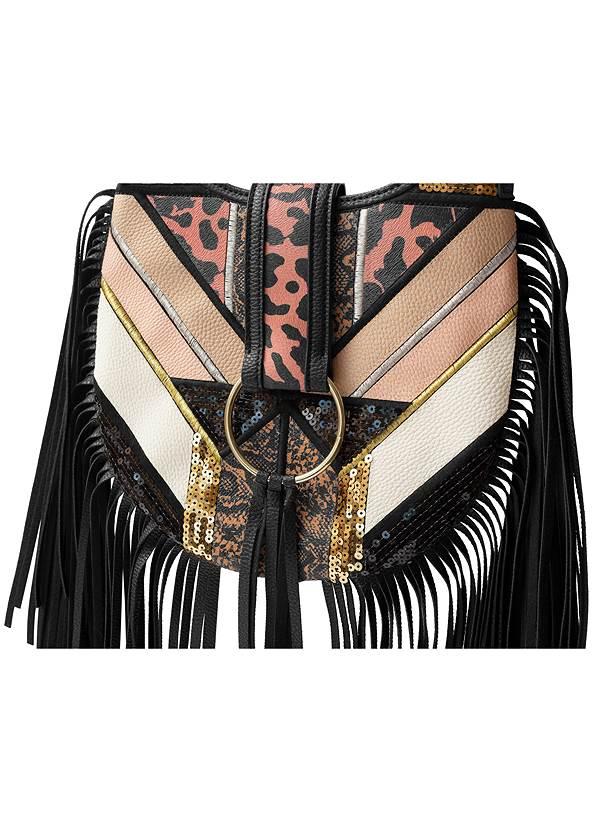 Fringe Detail Bag,Turtleneck Top,Velvet Pants,Sexy Slingback Heels,Mixed Earring Set