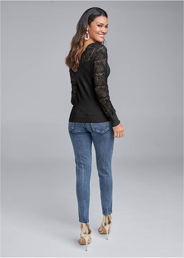 Back View Lace Sleeve Sweater