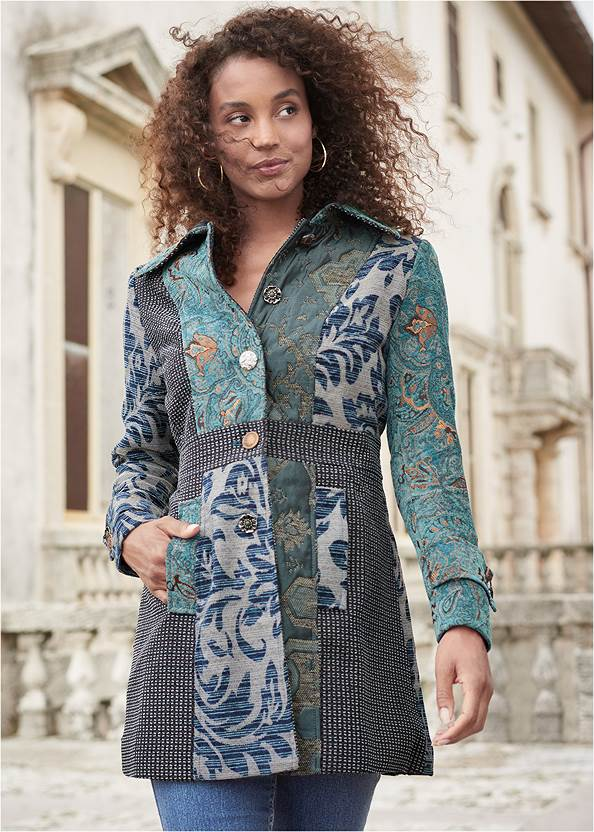 Mixed Print Coat,Basic Cami Two Pack,Mid Rise Color Skinny Jeans,Mixed Earring Set