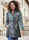 Cropped Front View Mixed Print Coat