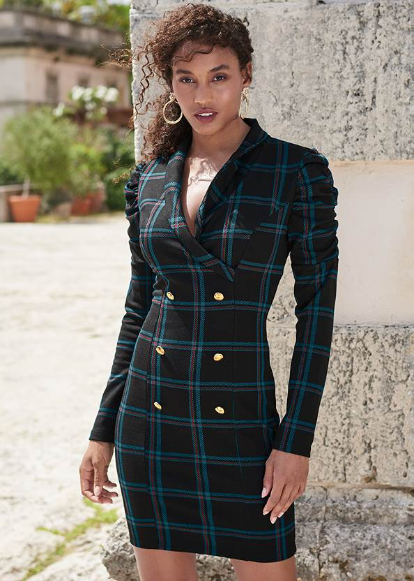 Plaid Blazer Dress,Pearl By Venus® Perfect Coverage Bra,Smoothing High Waist Brief,Sexy Slingback Heels,Tiger Detail Earrings,Rhinestone Clutch
