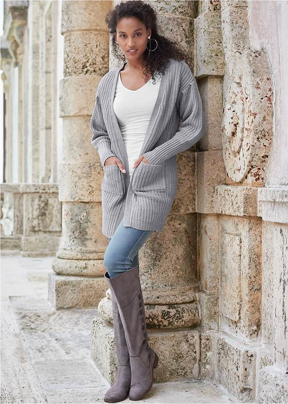 Oversized Cardigan,Basic Cami Two Pack,Long And Lean V-Neck Tee,Mid Rise Color Skinny Jeans,Lace Up Tall Boots,Circle Detail Booties,Python Clutch