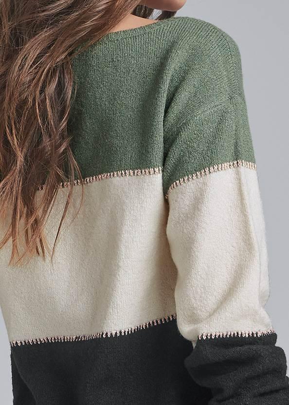 Alternate View Printed Color Block Sweater