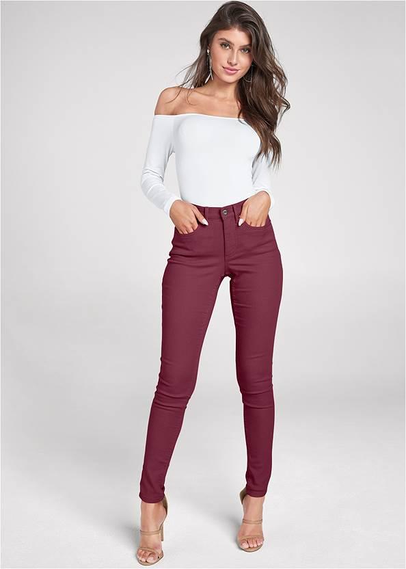 Mid Rise Color Skinny Jeans,Off The Shoulder Top,Jean Jacket,Smocked Off Shoulder Top,High Heel Strappy Sandals