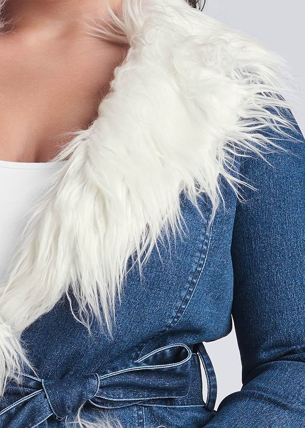 Alternate View Denim And Faux Fur Trench