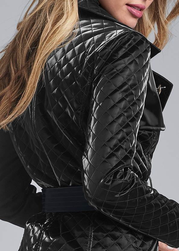 Alternate View Quilted Buckle Detail Coat