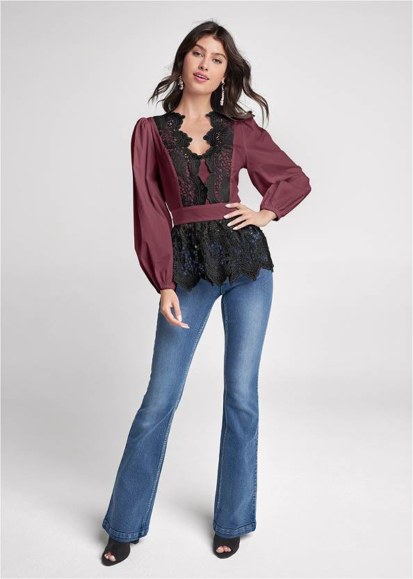 Full Front View Lace Peplum Blouse
