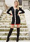 Front View Button Detail Sweater Dress