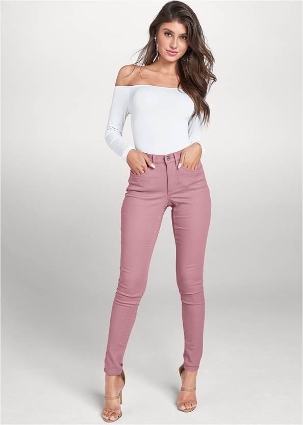 Mid Rise Color Skinny Jeans,Off-The-Shoulder Top,Jean Jacket,Smocked Off-Shoulder Top,High Heel Strappy Sandals