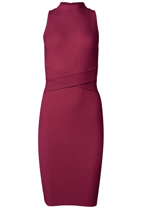 Back View Casual Ribbed Midi Dress