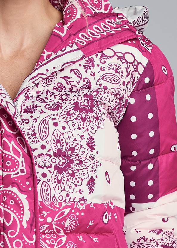 Alternate View Paisley Print Puffer Jacket