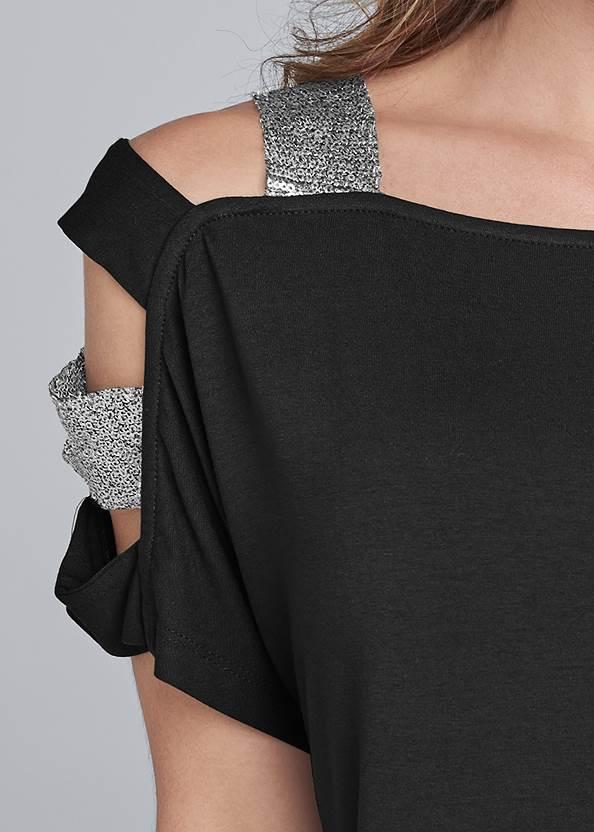 Alternate View Sequin Lattice Sleeve Top