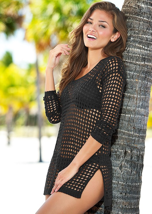 CROCHET TUNIC,ENHANCER PUSH UP BRA,SCOOP FRONT BIKINI BOTTOM