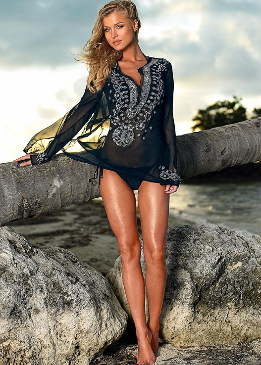 SEQUIN TUNIC,TRIANGLE BIKINI TOP,STRING SIDE BIKINI BOTTOM