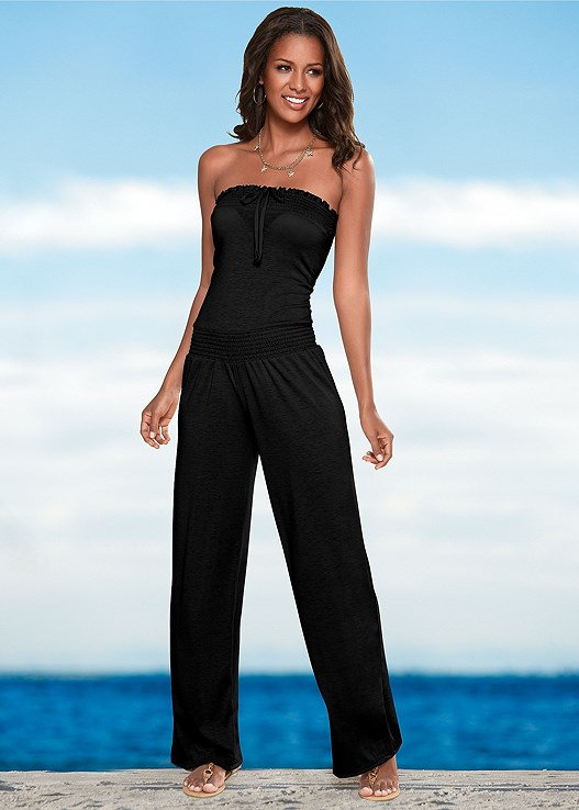 SMOCKED BANDEAU JUMPSUIT,STARFISH BELLY CHAIN,UNDERWIRE BANDEAU TOP,RUFFLE TIE SIDE BOTTOM