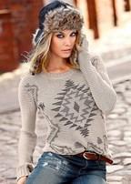 pattern crewneck sweater