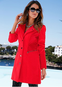 quilted detail coat