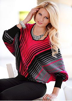 stripe sweater poncho