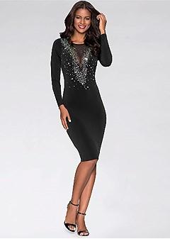 embellished v-neck dress