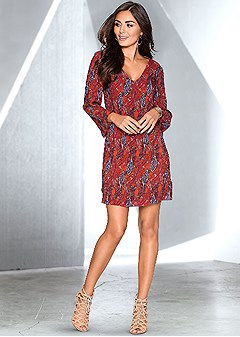 printed v-neck dress