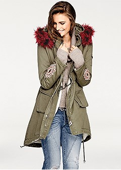 faux fur hooded coat