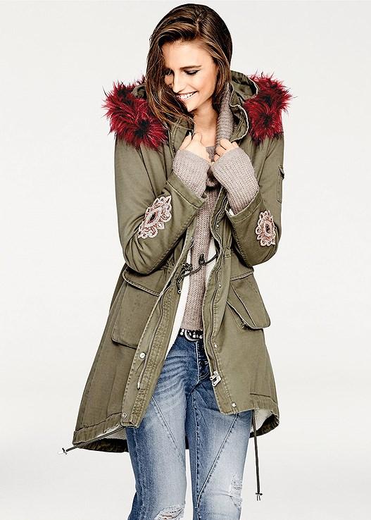 Faux Fur Hooded Coat in Olive Multi | VENUS