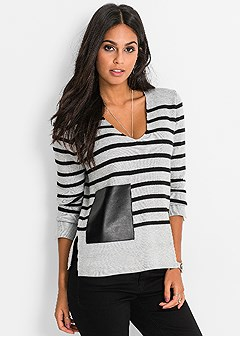 faux leather detail sweater