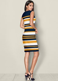Back view Striped Bodycon Dress
