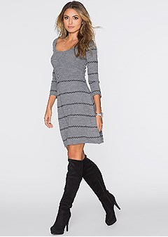 scoop neck sweater dress