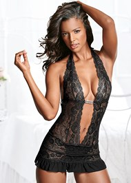 Alternate view Deep V Sheer Lace Negligee