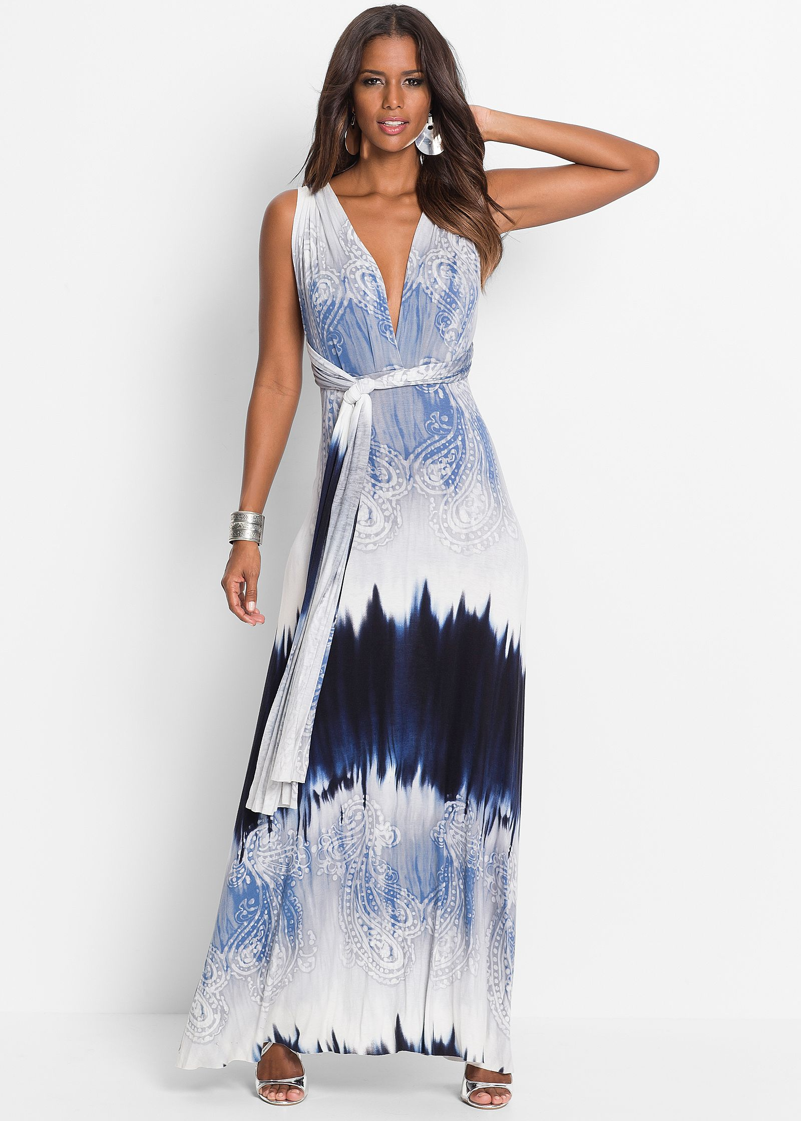 TIE DYE PRINTED MAXI DRESS, BUTTERFLY LACE BACK BRA, HOOP DETAIL EARRINGS
