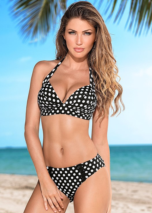 DOTTIE BIKINI BOTTOM,DOTTIE HALTER BIKINI TOP,PUSH UP BRA TOP,UNDERWIRE BRA TOP,BLOUSON TANKINI TOP